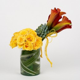 20 Yellow Roses 6 Orange Lilies Glass Vase Arrangement
