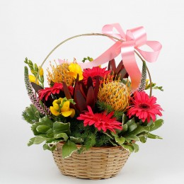 Colourful Basket of 17 Mixed Exotic Flowers