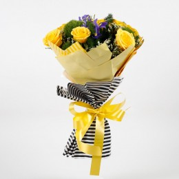 Yellow Roses Blue Iris Bouquet
