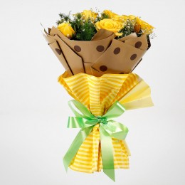 Bright 10 Imported Yellow Roses Bouquet