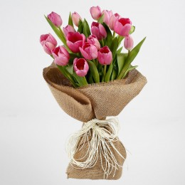 18 Purple Tulips Jute Wrapped Premium Bouquet