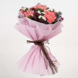 Pink Carnations Wax Flowers Bouquet