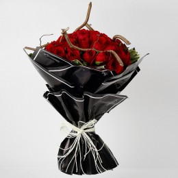 50 Premium Red Roses Bouquet in Black Paper