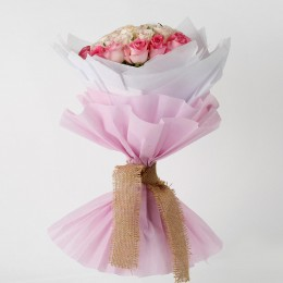 36 Graceful Dark Light Pink Roses Bouquet
