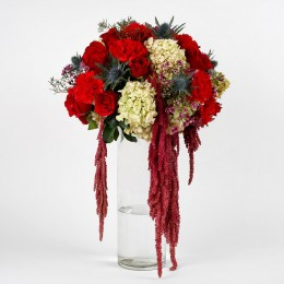 Red Roses Carnations 49 Exotic Flowers Premium Arrangement