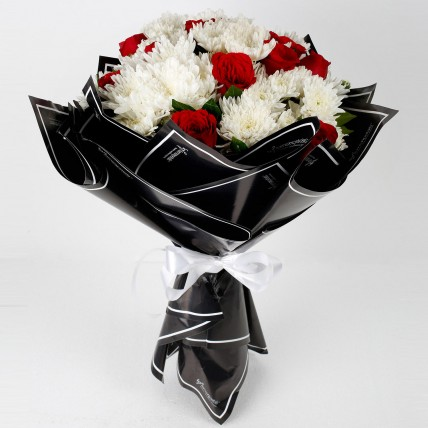 Red Roses White Chrysanthemums Bouquet