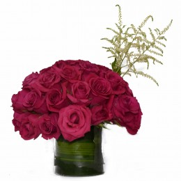Pink Passion Dark Pink Roses in Glass Vase