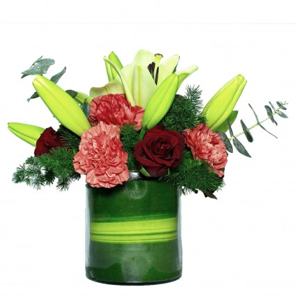 Carnations Roses Lilies Arrangement