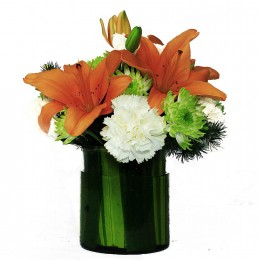 White Carnations Orange Lilies in Vase