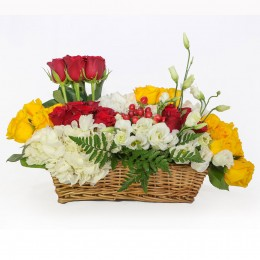 Red Yellow Roses Basket Arrangement