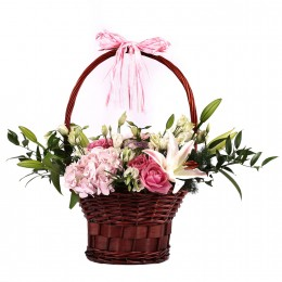 Basket Of Pink White Flowers