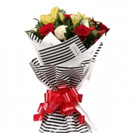 Striped Love Roses Asiatic Lilies Bouquet