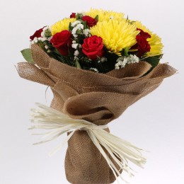 Red Roses Yellow Disbud Bouquet