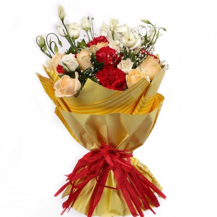 Peach Roses Red Carnations Bouquet