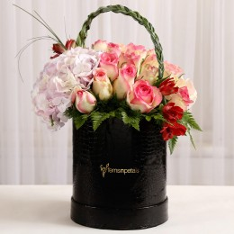 Mixed Roses & Alstroemeria in Black Box