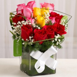 Beautiful Mixed Roses Vase Arrangement