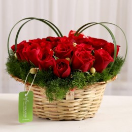 Elegant Basket of Red Roses