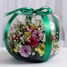 Colourful Flowers in Fish Bowl