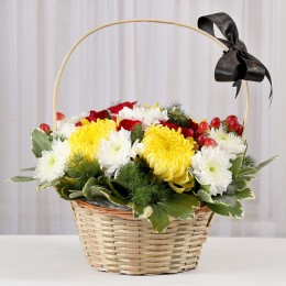 Basket of Roses & Chrysanthemums