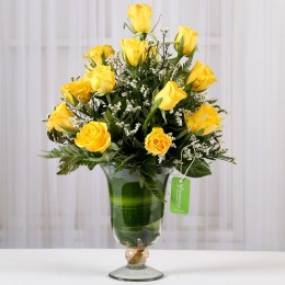 Yellow Roses & White Limoniums in Glass Vase