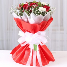 Red & White Mixed Flowers Bouquet