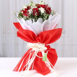 Red Roses & White Limoniums Bouquet