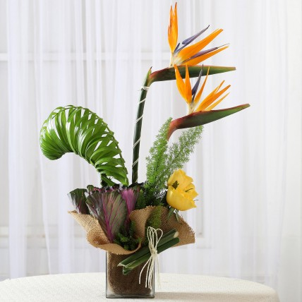 Roses & Bird of Paradise Vase Arrangement