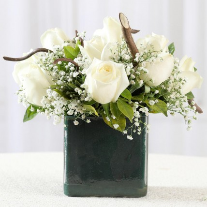 Pure Love White Roses in Glass Vase