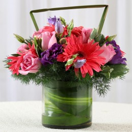 Pink Roses & Gerberas Flower Arrangement