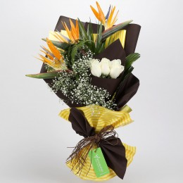 White Roses & Bird of Paradise Bouquet