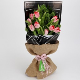 10 Light Pink Tulips Bouquet