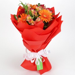 Orange Gerberas & Red Roses Bouquet