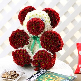 Premium Red & White Floral Teddy Bear