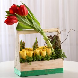 Basket of Yellow Roses & Red Tulips