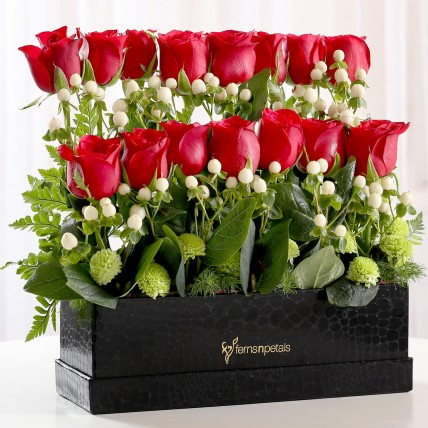 2 Layer Red Roses Arrangement in Box