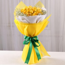 Flaming Yellow Roses Bouquet