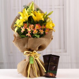 Posy of Yellow Flowers with Bournville