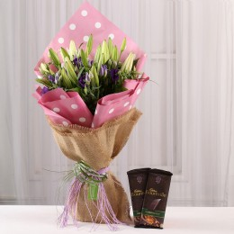 Lisianthus & Lilies Bouquet with Bournville