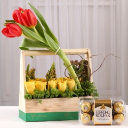 Basket of Roses & Tulips with Ferrero Rocher