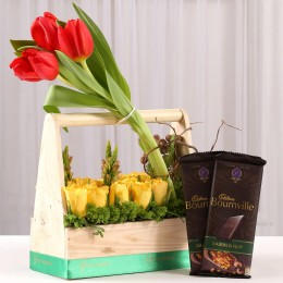 Basket of Roses & Tulips with Bournville