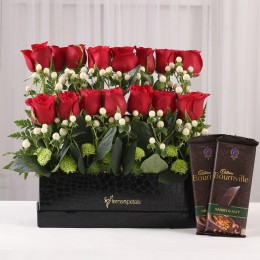 Bournville & 2 Layer Red Roses in Box