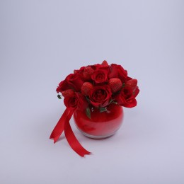 Roses & Strawberries Glass Bowl