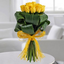 Yellow Roses In Dracaena Leaves Bunch