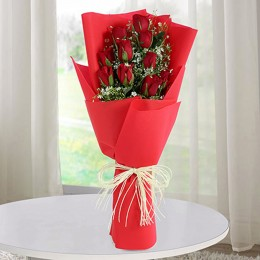 Romantic 10 Red Roses Bunch