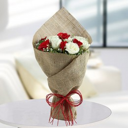 White Roses N Red Roses Bunch