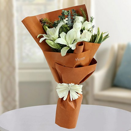 White Roses N Asiatic Lilies Bunch
