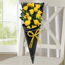 Joyous Yellow Roses Bunch