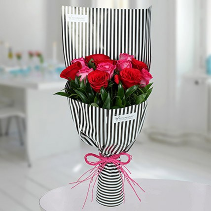 Red N Pink Roses Bunch