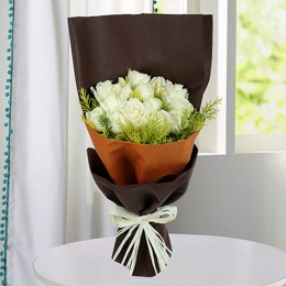 Pure White Roses Bunch