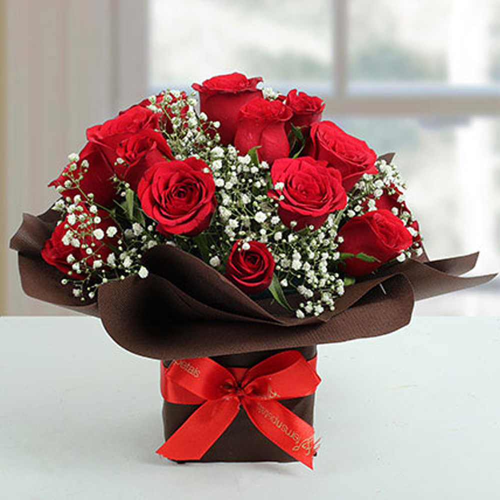 Send Exotic Red Roses Arrangement Online from BookMyFlowers